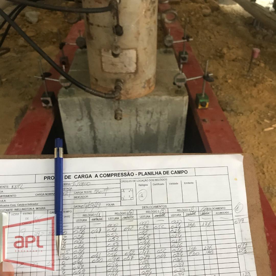 Instrumentação e relatório de prova de carga estática